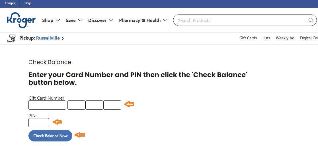 Kroger Gift Card Balance Check step 3