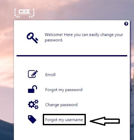 csx forgot username