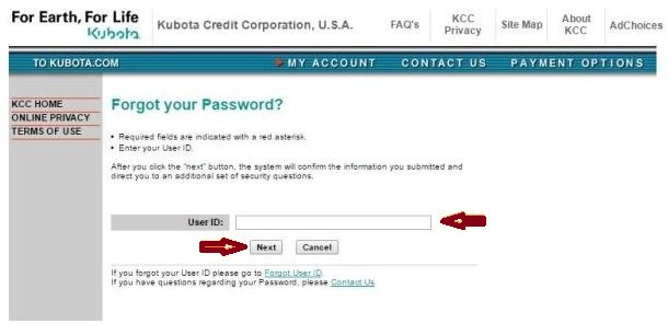 Kubota Credit USA forgot password 2